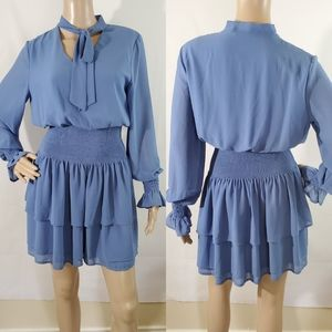 NEW She + Sky Blue Tiered Bell sleeves Dress Sz M